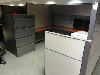 ALLSTEEL 8'X8' CUBES WITH 4-DRAWER LATERAL FILE, FINE CONDITION $850 EACH