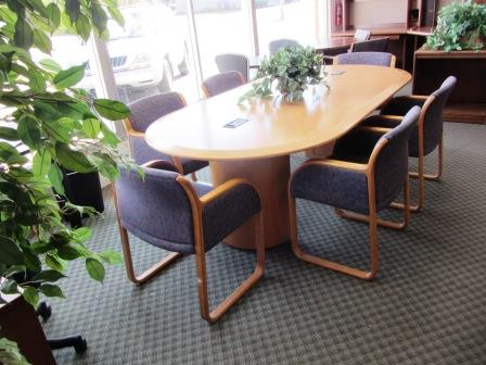 maple conf. table and chairs